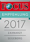Zertifizierung – Focus Empfehlung 2017